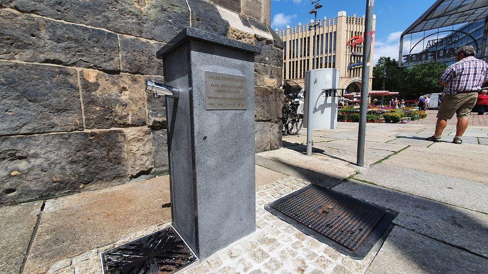 Am Rathaus gibt es bereits einen ersten Brunnenspender. Weitere sollen noch folgen.