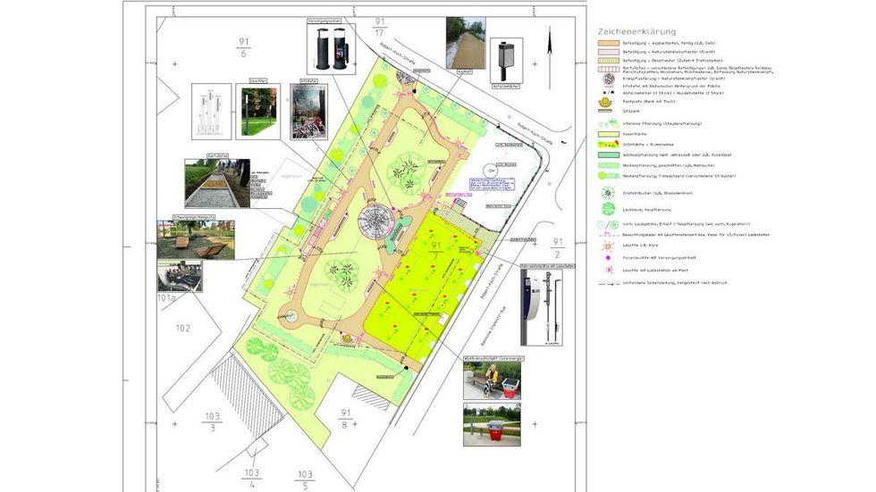 Dieser Entwurf soll zeigen, wie der Park ungefähr aussehen soll. Unter anderem sind hier bereits Infotafeln und W-LAN Zugänge eingeplant. (Foto: Stadt Thalheim / AIA-Aue GmbH)