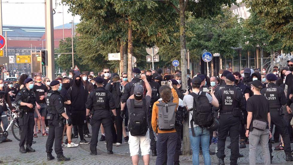 Demonstration gegen Poggenberg-Demo in Leipzig