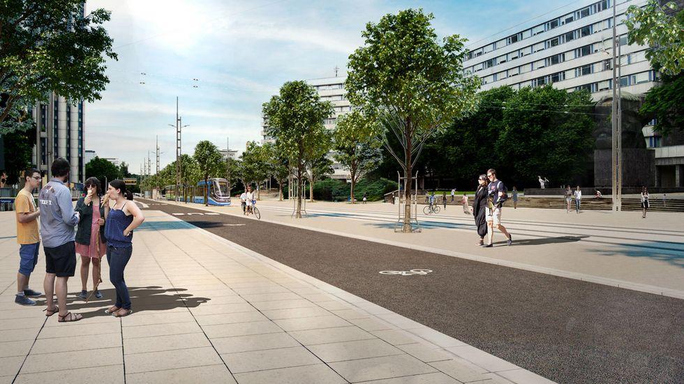 So könnte die Brückenstraße einmal aussehen. Über die Varianten soll aber erst im Dezember der Stadtrat abstimmen.