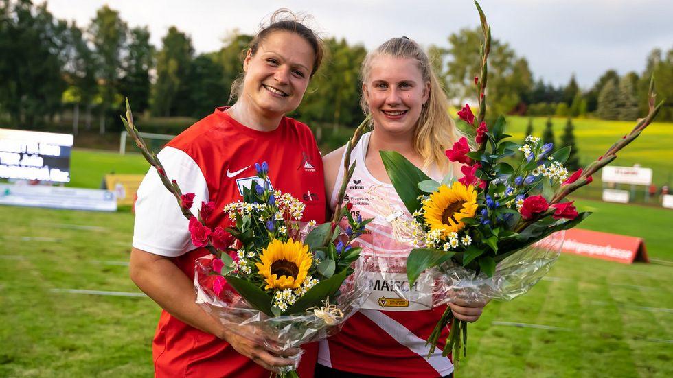 Die Kugelstoßerinnen vom LV90 Erzgebirge, Christina Schwanitz und Katharina Maisch, sicherten sich Platz 1 und 2. Für sie war es eine gelungene Generalprobe vor den Olympischen Spielen.